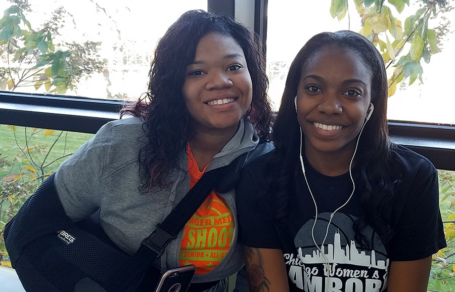 Kianna Campbell Ciara Mayes what are you thankful for banner jjc joliet junior college