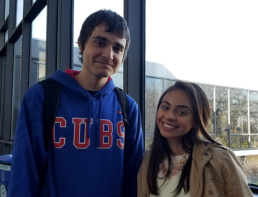 Samantha Arellano Aaron Seidler what are you thankful for banner jjc joliet junior college
