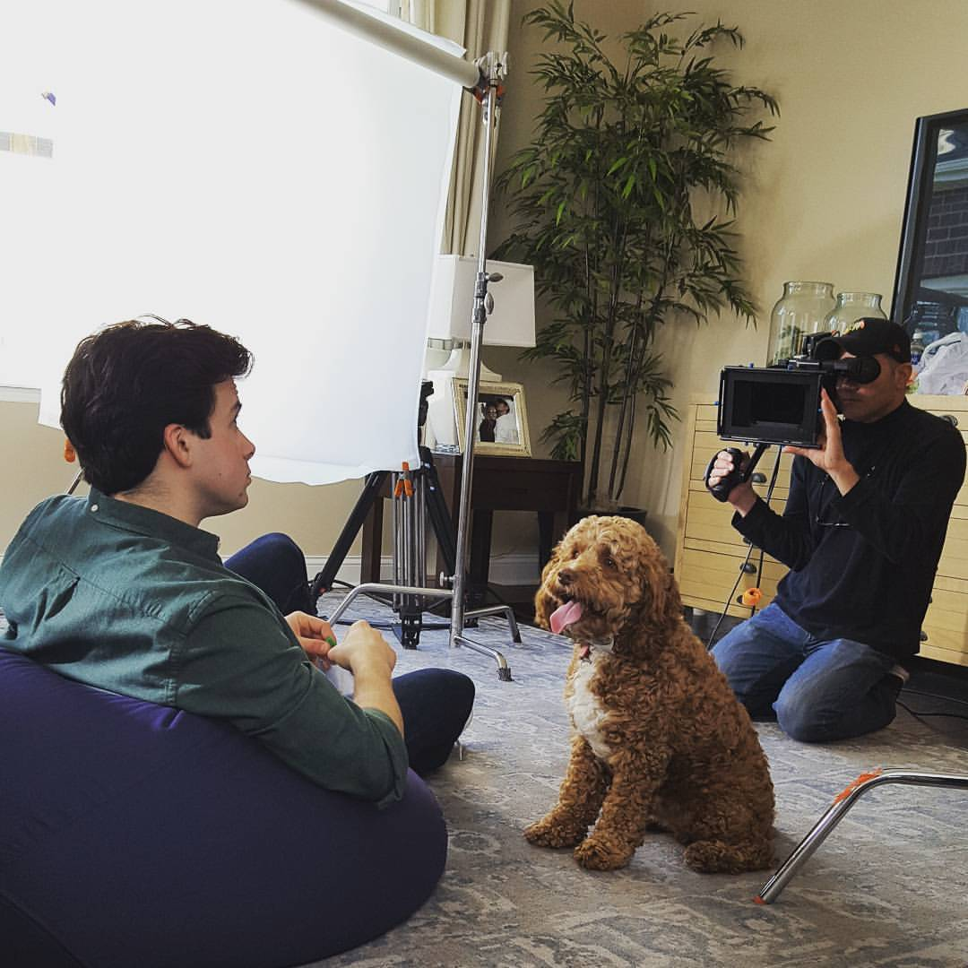 A Behind the Scenes Look at JJC Commercials Michael with dog