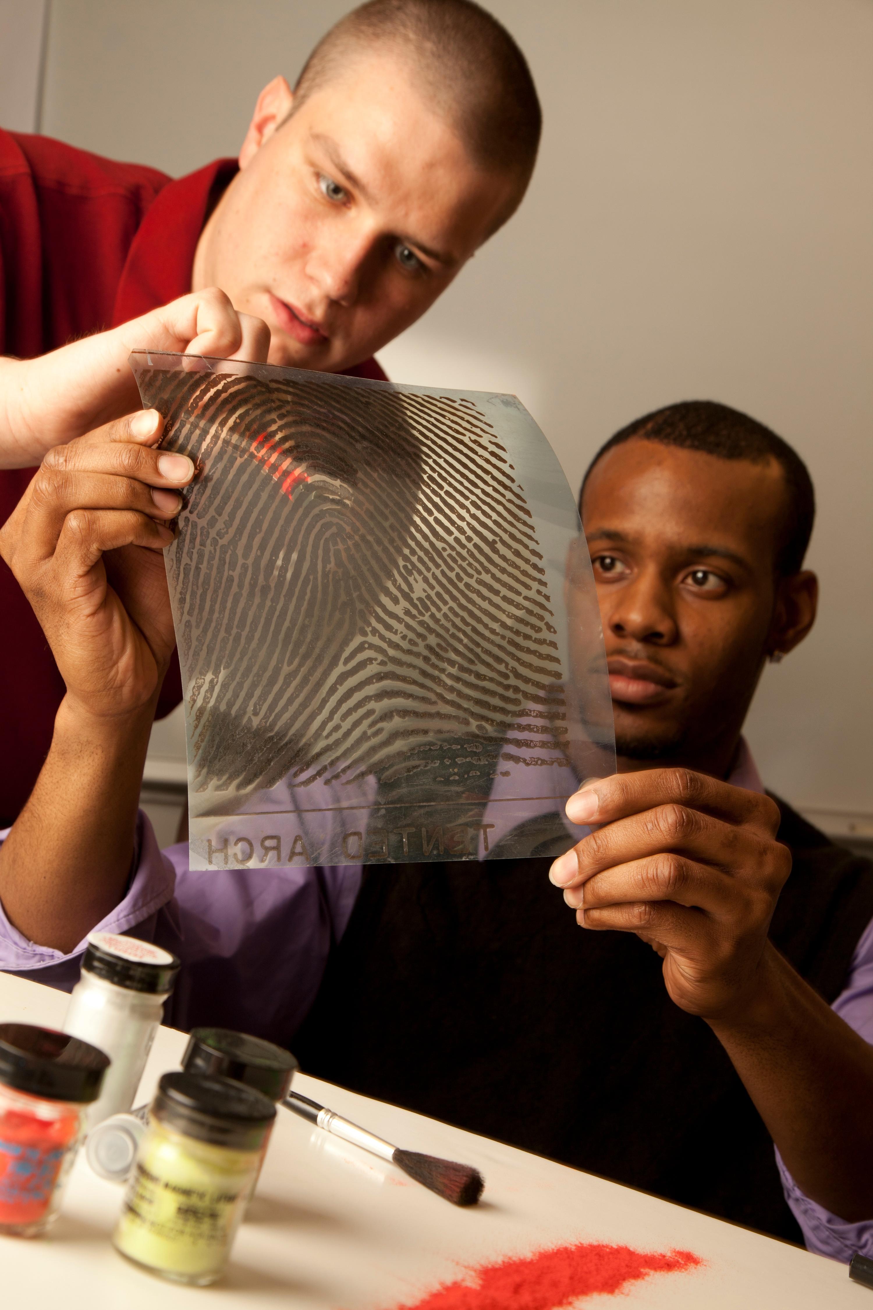 criminal justice students looking at fingerprints 11 most popular jjc majors joliet junior college