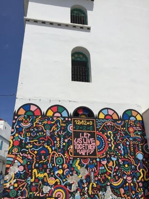 jjc students study abroad in morocco asilah building mural