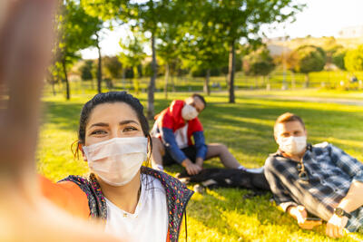 People Outside with Masks