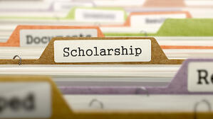 File Folder Labeled as Scholarship in Multicolor Archive. Closeup View. Blurred Image.-1