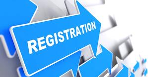 Registration. Blue Arrow with Registration Slogan on a Grey Background.