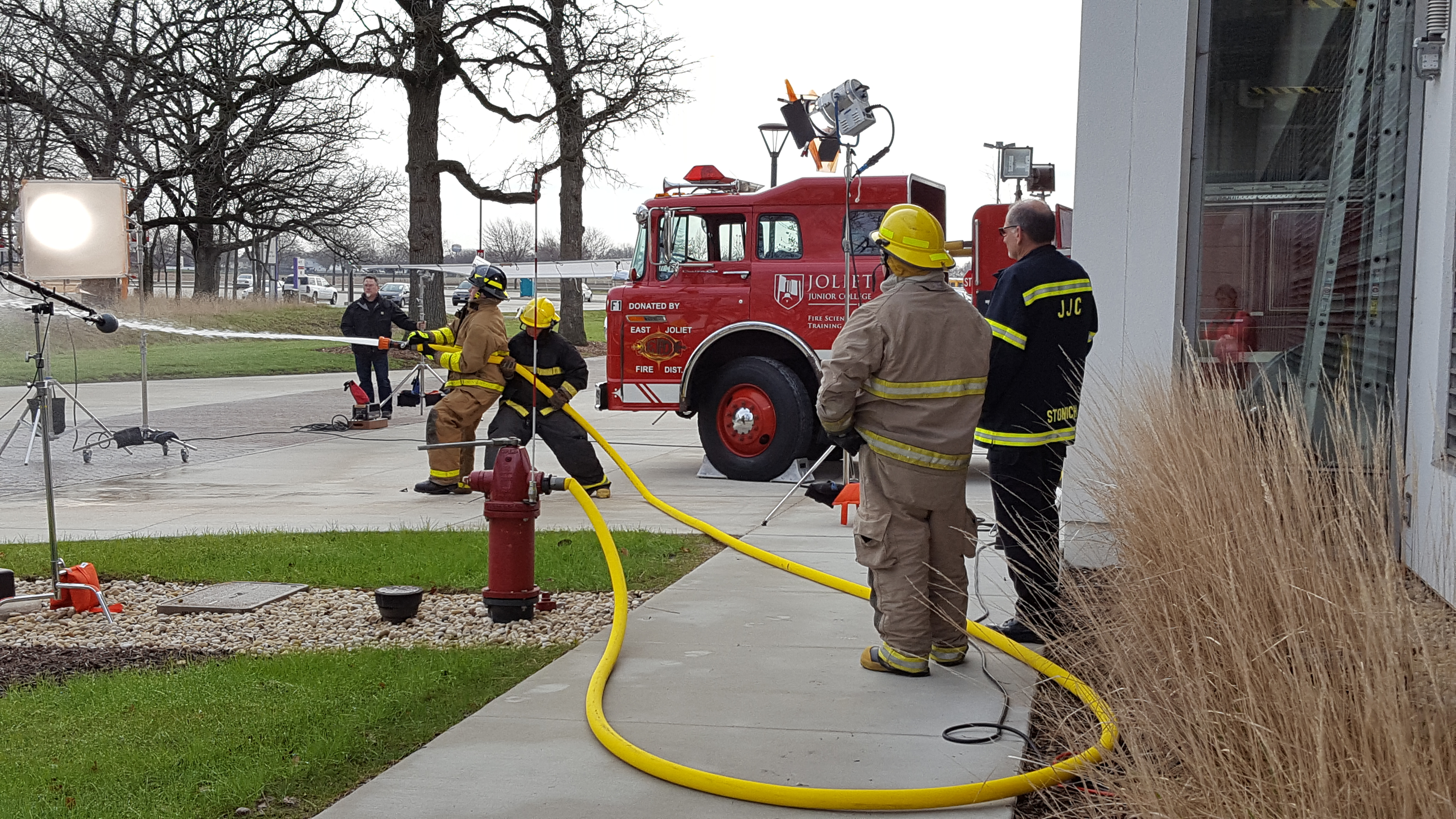 filming fire hose behind the scenes look JJC Commercial