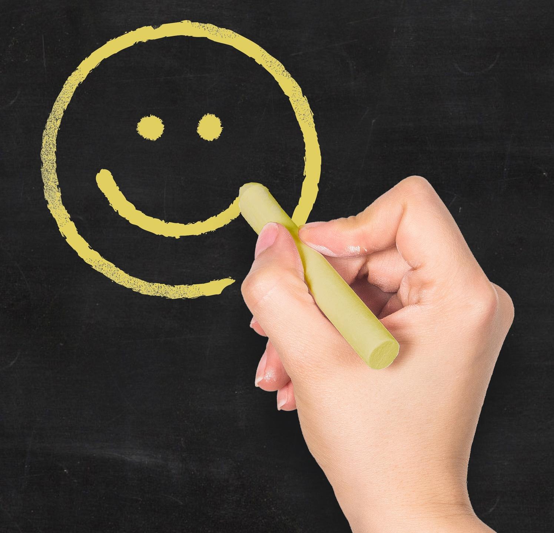 happy face chalk board